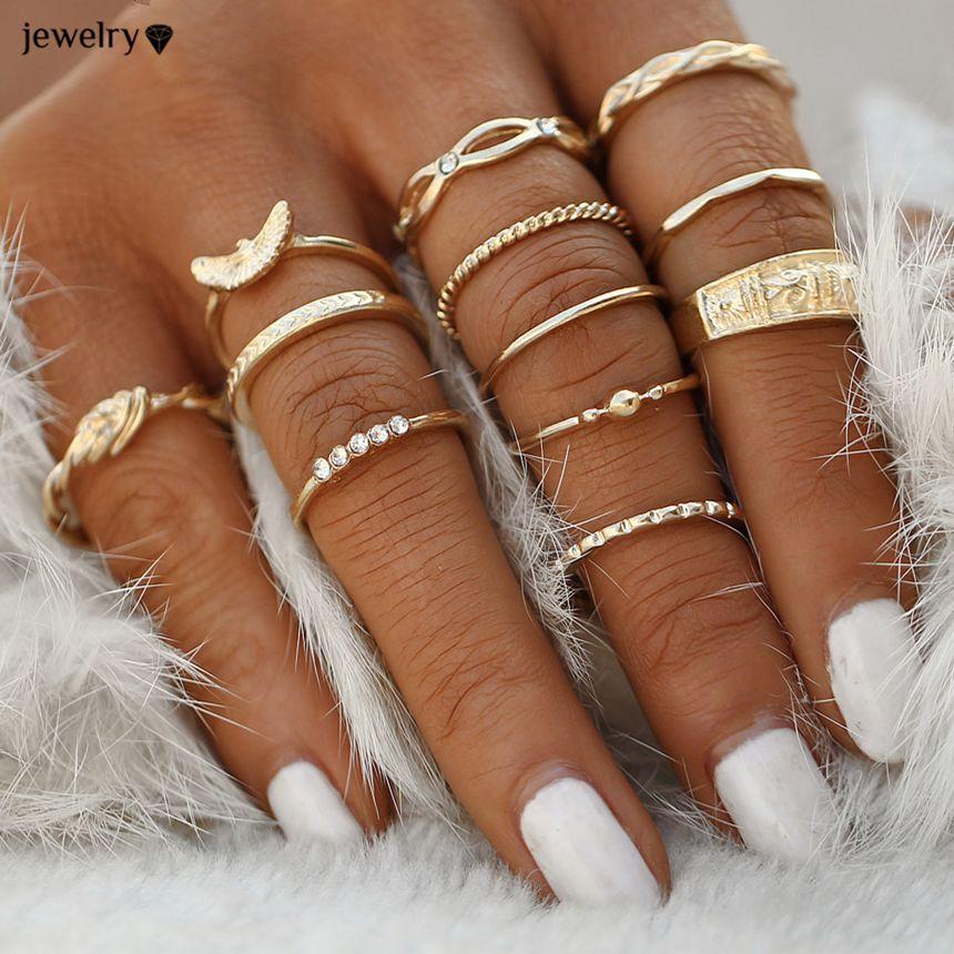 12 pc / set encanto da cor do ouro Midi Dedo Set Anel por Mulheres Boho Vintage Knuckle Partido Anéis Punk jóias presente para a menina