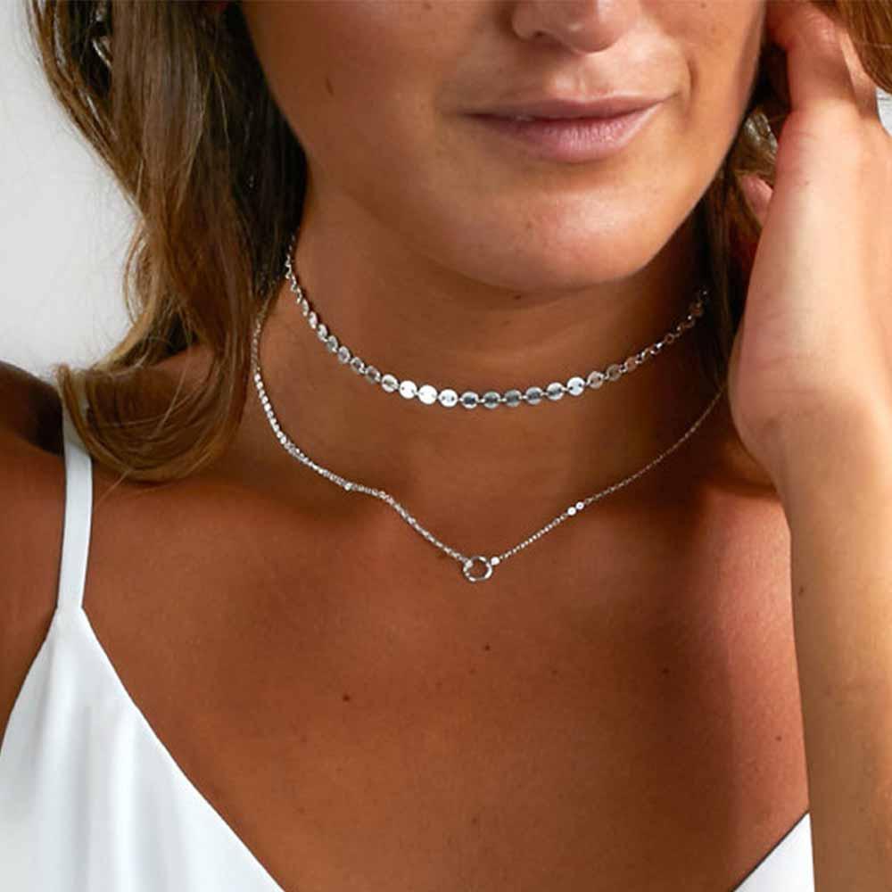 TomTosh 2018 Fashion Toy Gold / Серебряные блестки Choker Маленький очаровательный кулон Два слоя Choker Ожерелье для женщин