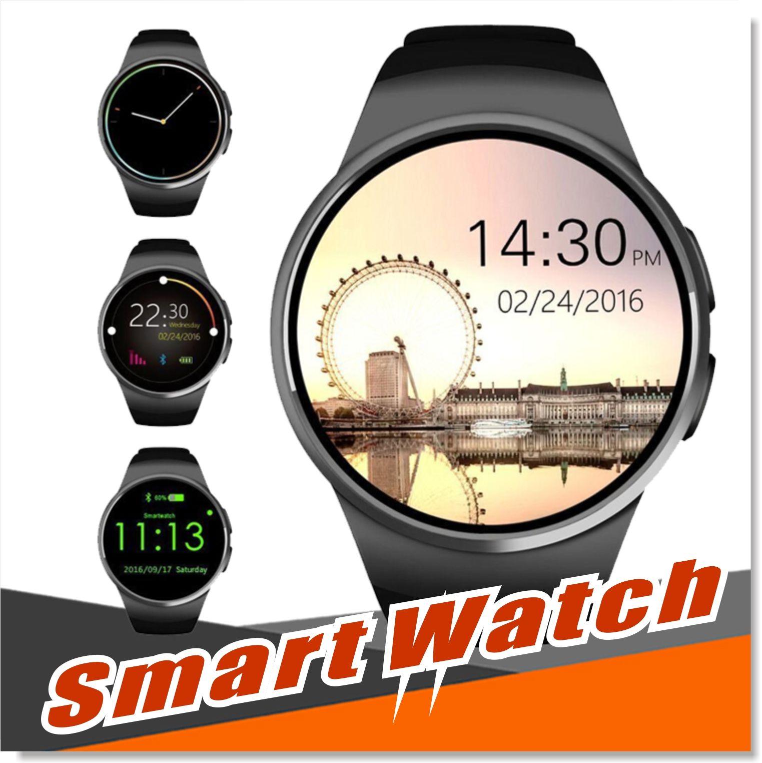 Bluetooth Smart Watch 1.3 Zoll IPS-Runde Touch Screen Water Resistant KW18 Smartwatch-Telefon mit SIM-Karten-Slot Schlaf Herzfrequenzmesser