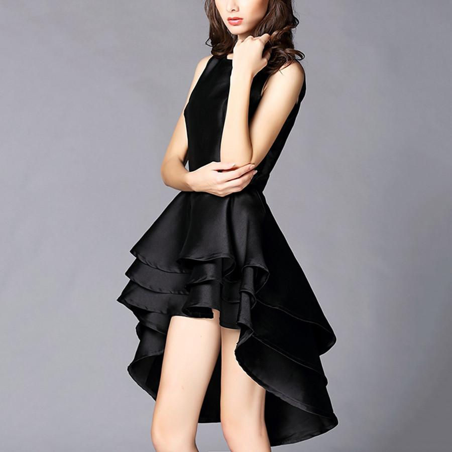 Compre Vestidos De Lujo De La Pista 2017 Mujeres Elegante Vestido De Cola De Pato Negro Verano Sin Mangas Princesa Vestido De Tirantes Vestidos Soltos