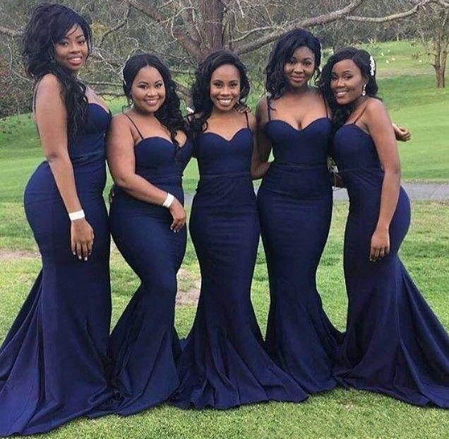 2019 Dark Navy African Bridesmaid Dresses Spaghetti Mermaid Long Formal Maid of Honor Wedding Guest Dresses Cheap Plus Size Custom Made