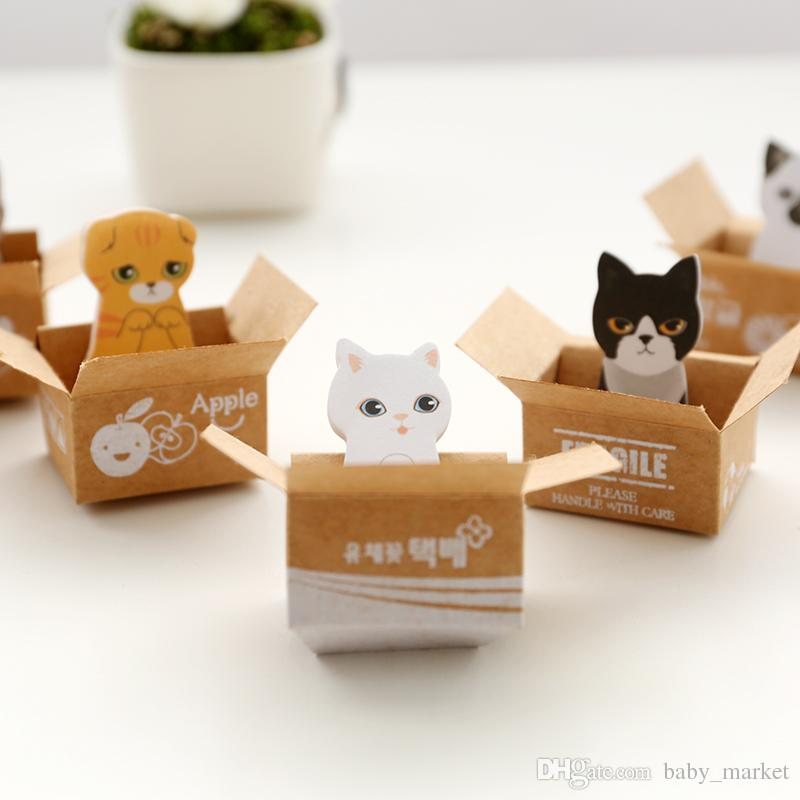 Kawaii Cute Carton Cat Kitty Memo Pads Sticky Notes Stickers Label Stick School Office Stationery Message Planner Writing.30pcs\