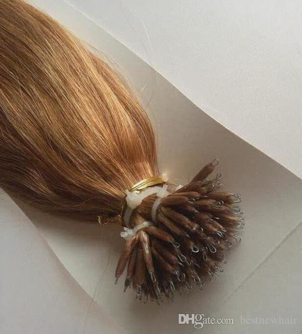 """100 Beads +100g 18""""/20""""/22""""/24"""" INDIAN Remy Human MICRO NANO RINGS Tip Hair Extensions"""