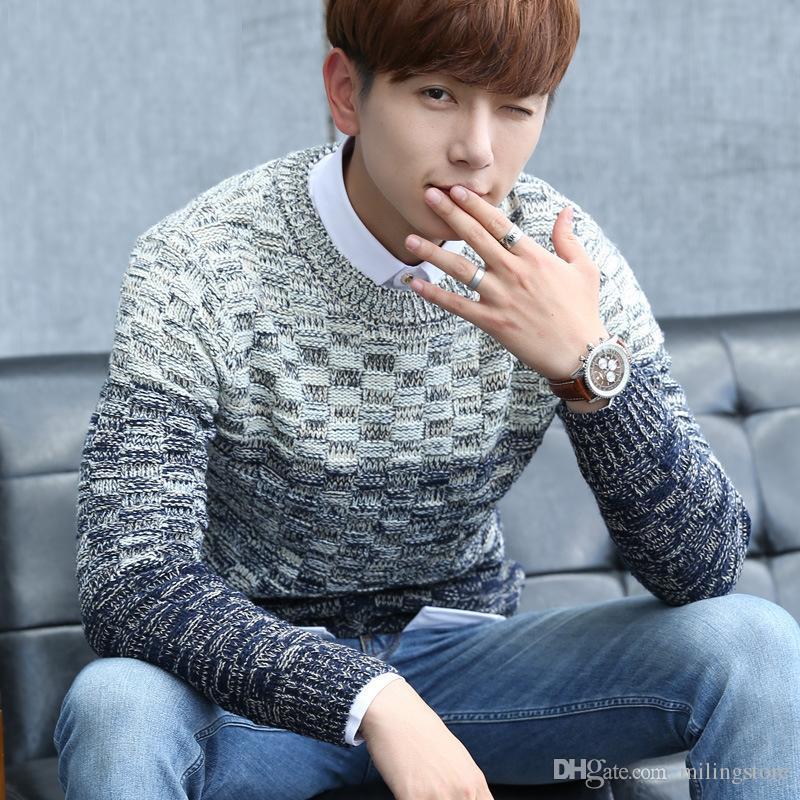 Novo outono e inverno Mens camisola estilo coreano manga comprida o pescoço pullover casual