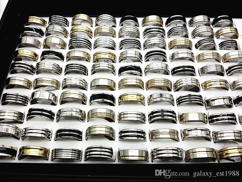 assortiti assortiti stili moda uomo argento-oro-nero gioielli da sposa in acciaio lucido anelli fascia nera nuovo di zecca