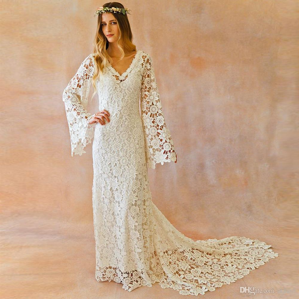 Discount Boho Wedding Dress Bell Sleeve Simple Vintage Crochet Lace  Bohemian Wedding Dress With Train V Neck Summer Beach Bridal Gowns 2017  Simple
