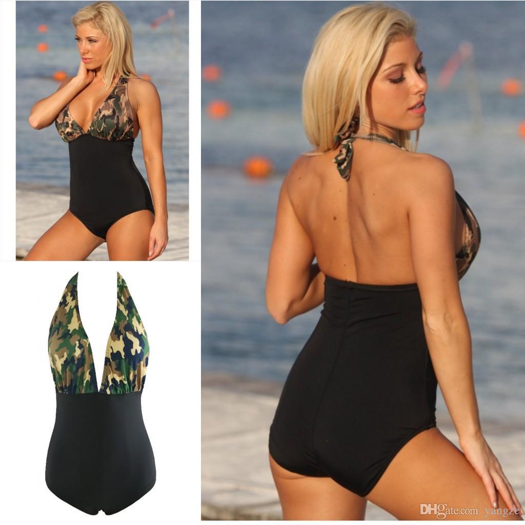 جديد مثير قطعة واحدة ملابس السباحة النسائية الرسن الأعلى التمويه طباعة شاطئ الاستحمام الدعاوى S M L XL QP0206