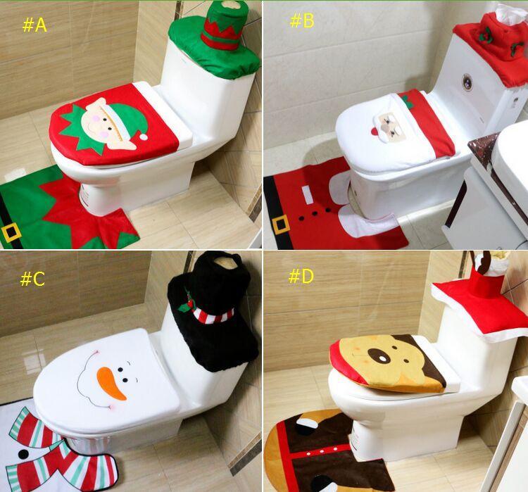 Wondrous Xmas Santa Toilet Seat Cover Rug Bathroom Set Christmas Decoration Party Decoration 4 Types For Christmas Gift White Christmas Decorations Wholesale Pabps2019 Chair Design Images Pabps2019Com