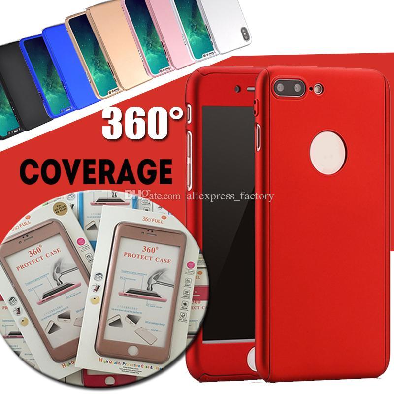 Estuche de 360 grados Protección de todo el cuerpo Estuche rígido de cubierta completa para PC con vidrio templado para iPhone XS Max XR X 8 7 6 6 S Más 5 orificios con caja al por menor