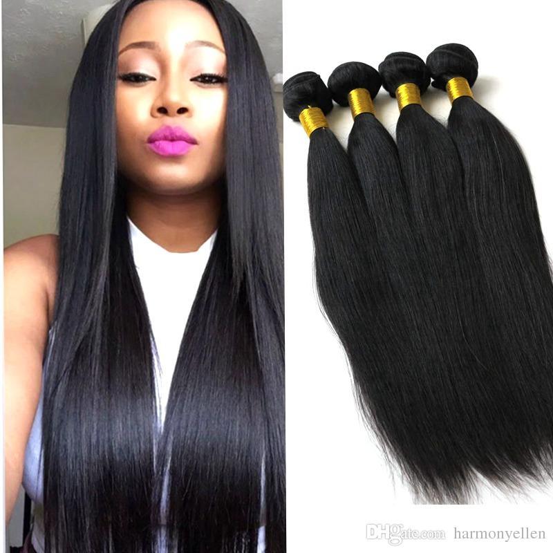 حزمة البرازيلي العذراء الشعر 3 حزم موجة مستقيمة غير المجهزة ضعف الشعر التمديد التمديد