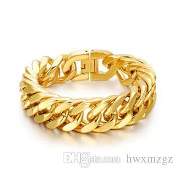 Pulsera retro de los hombres 14K oro 3,5 mm doble hebilla pulsera de cuatro caras joyas