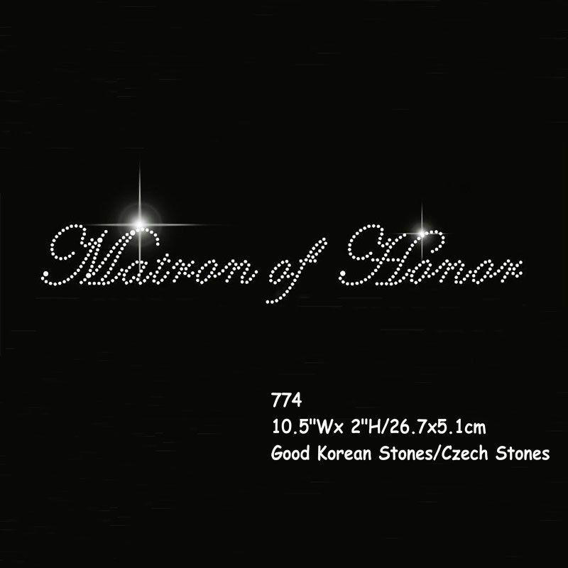 Matron of Honor Rhinestone iron on transfers new Bride BACHELORETTE BRIDAL PARTY 20pcs/lot