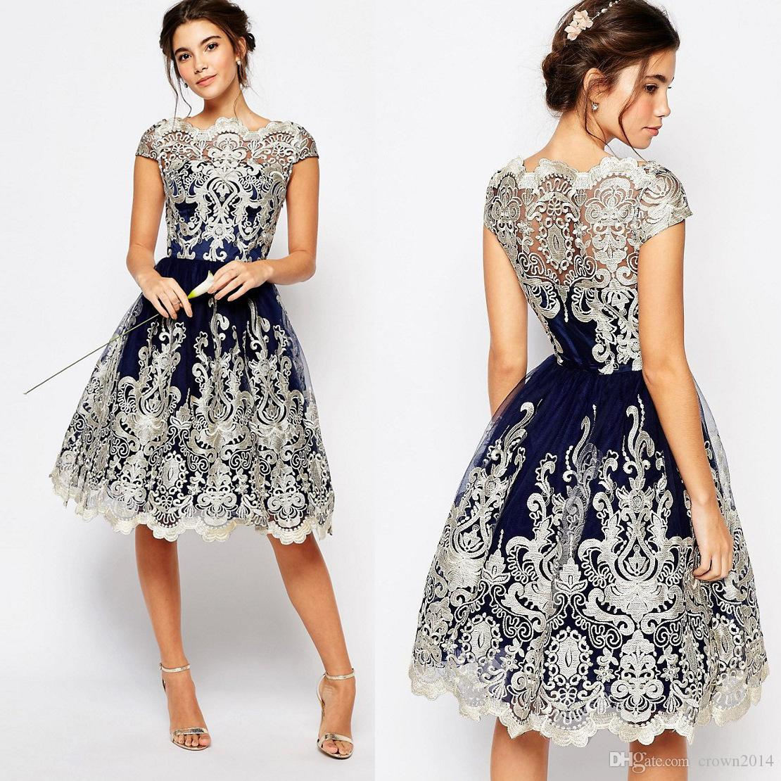 2019 Dark Blue Prom Dresses Short Lace Bateau