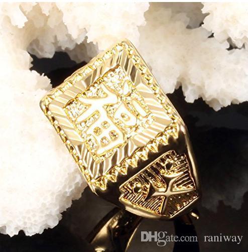 Osobowość Męskie Pozłacane prostokąt Pierścień Błogosławieństwo w Chińskiej Charakteru Powodzenia Gold Jewelry Dla mnie Punk Rockn