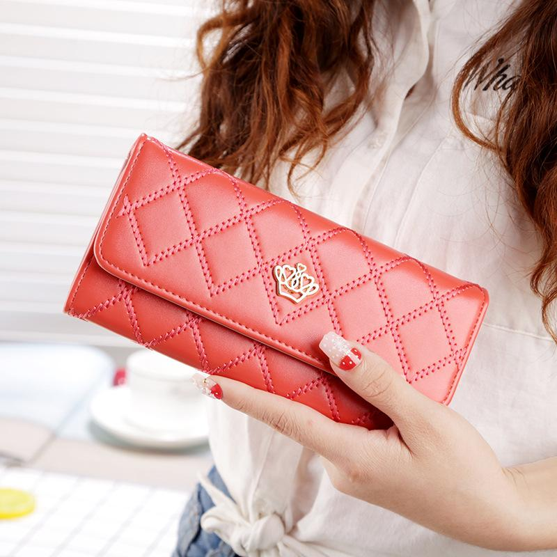 Portafoglio donna moda Lingge metallo corona femminile lungo portafogli titolari di carte cellulare tasca per le donne frizione borsa denaro