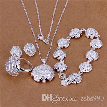 Mode Smycken Set 925 Sterling Silver Plated Rose Pendant Halsband Örhängen Ring Armband för Kvinnor Alla hjärtans dag Presenter