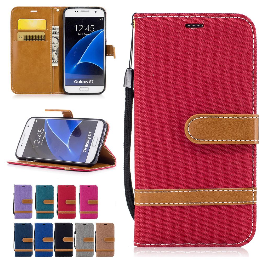 Per Samsung Galaxy S7 Custodie Cover in tessuto in pelle da cowboy con tasche per carte Flip Bucklet Hand Strap