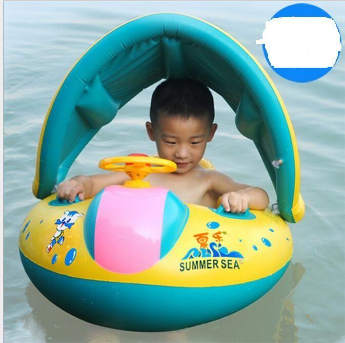 PVC de alta calidad seguridad del bebé infantil flotador de la natación de la sombrilla ajustable Proteja el asiento niños nadada del barco del asiento del juguete del bebé del anillo Barco piscina de natación