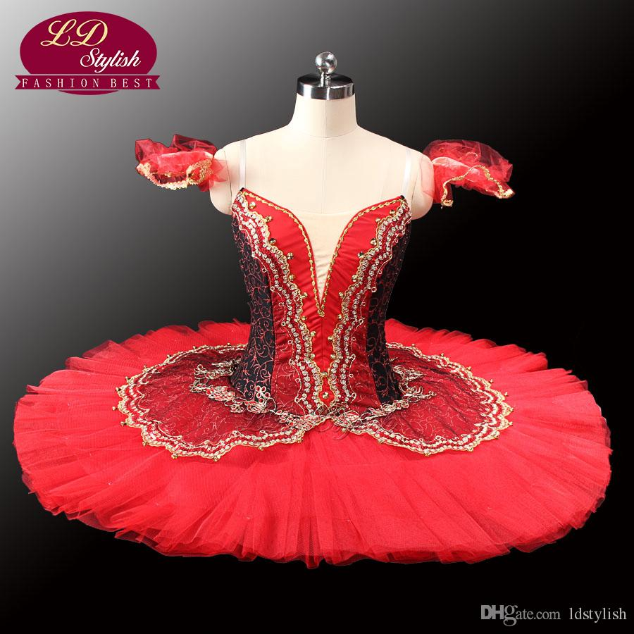 Adult black Red Professional Tutu Red Ballet Tutus For Performance Black Swan Costume Girls Ballet TutuLD0014