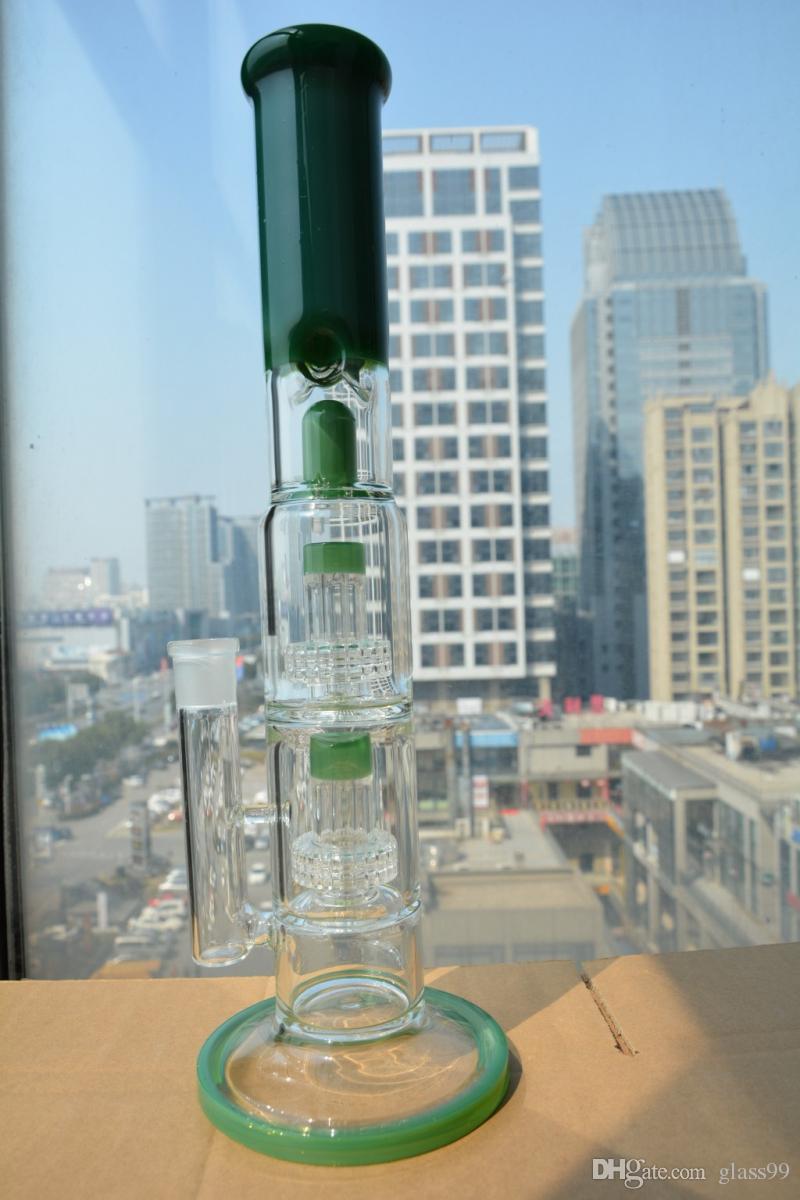 Bong Dritto verdi retta di vetro con doppi Stereo Matrix percs grande pipa ad acqua con giunto 18 millimetri