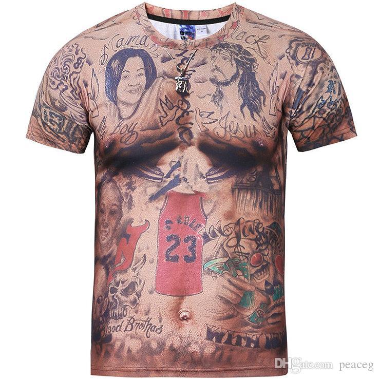 Tatoo scrawl T shirt 3D pattern short sleeve gown Cool tees Street printing clothing Unisex cotton Tshirt