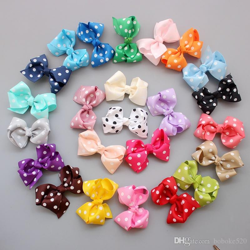 50pcs/lot 3.2'' Grosgrain Ribbon Dots Bows WITHOUT clip DIY kids hair clips for girl child accessories