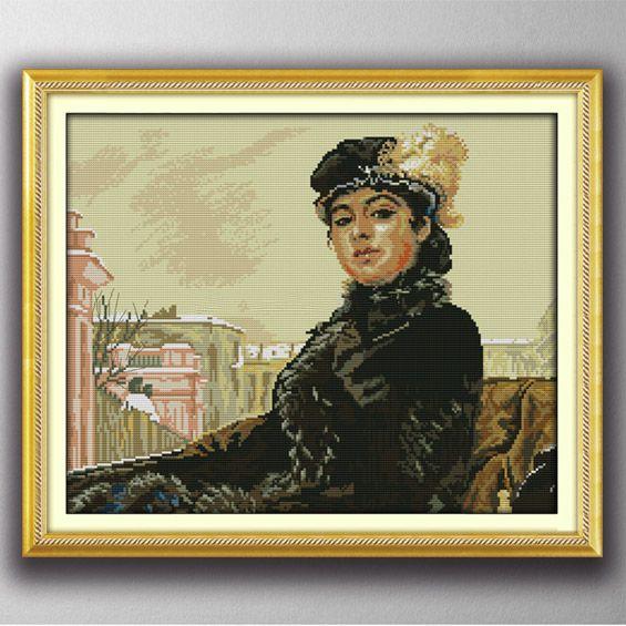 Una giovane ragazza russa, Gracious style Punto croce Set di cucito Kit di ricamo dipinti contati stampati su tela DMC 14CT / 11CT