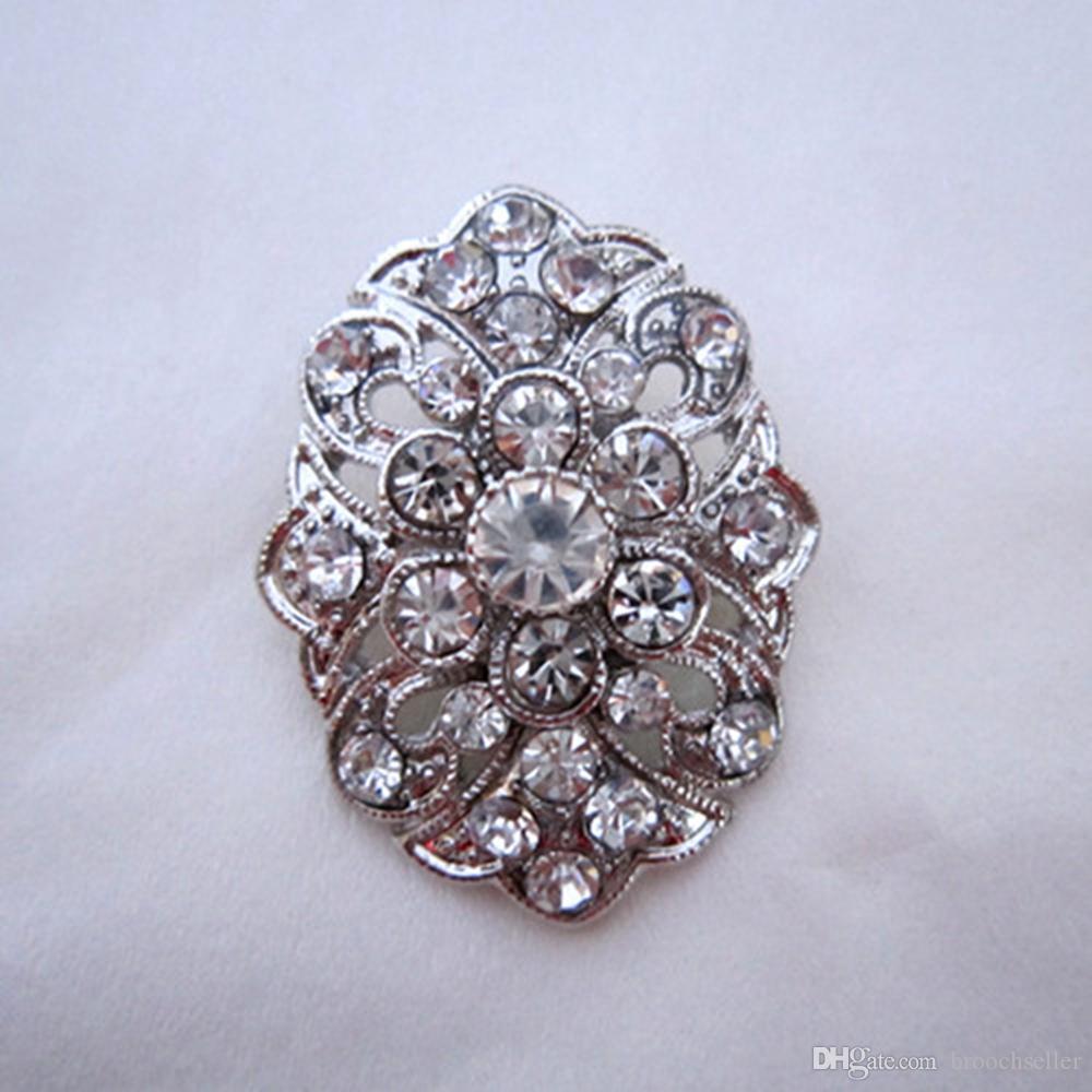 Versilbert Strass Kristall Blume Pin Brosche für Hochzeitseinladung