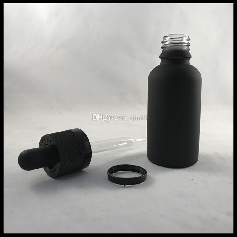 30ml Siyah Mat Cam Şişeler Için Uçucu Yağ Ile Çocuk Geçirmez Kap ve Ölçüm Damlalık Cam E Sıvı Şişeler