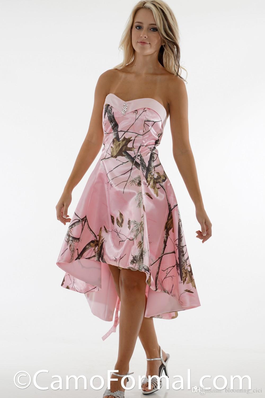 Pembe Kamuflaj Elbise Gelinlik Giydirme straplez Hi-lo Kısa Nedime Örgün Önlükler Custom Made (hayır peçe)