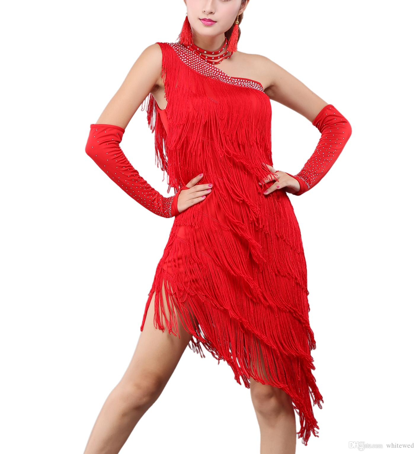 Whitewed One Shoulder Fringed Gatsby Event Latin Dance Costumes Dresses Latino Latin Ballroom Dance Team Practice Dancewear Costumes Fashion