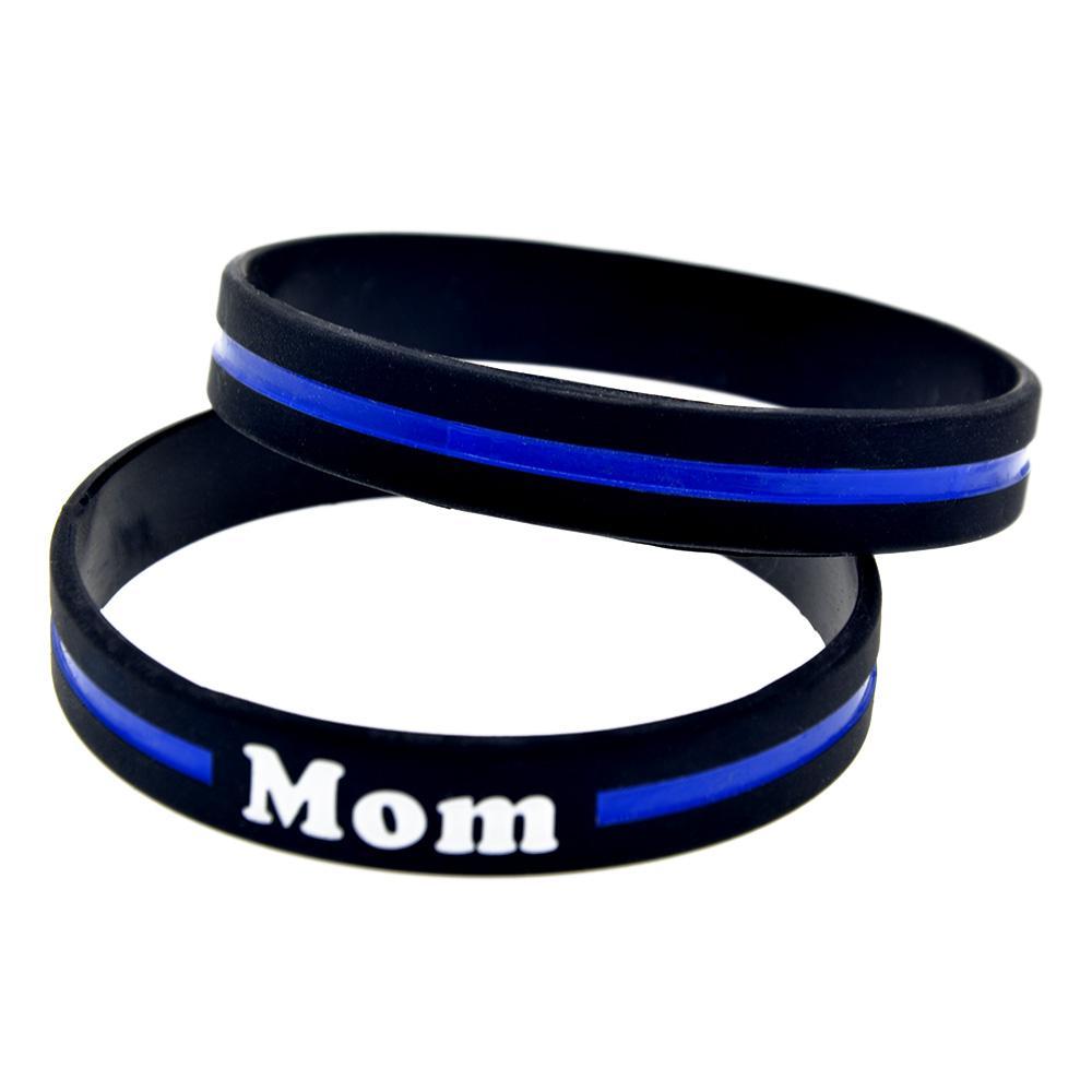 100 stücke blau line mom silikon kautschuk armband mode dekoration logo schwarz erwachsene größe für förderung geschenk