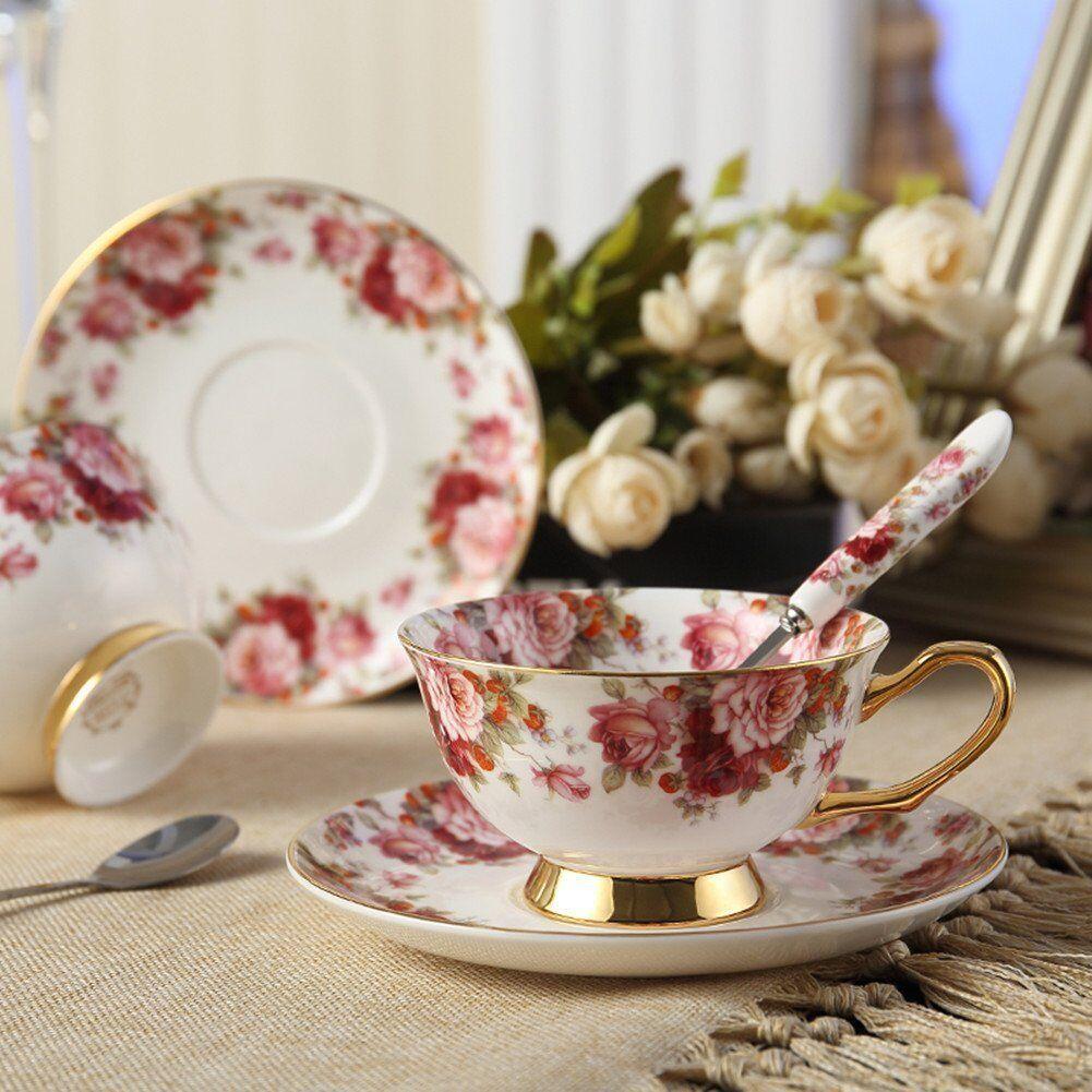 Bone China Tea Cup Set de tasse à café avec soucoupe et cuillère, pour la maison, les restaurants, présentez des cadeaux de vacances pour la famille ou des amis