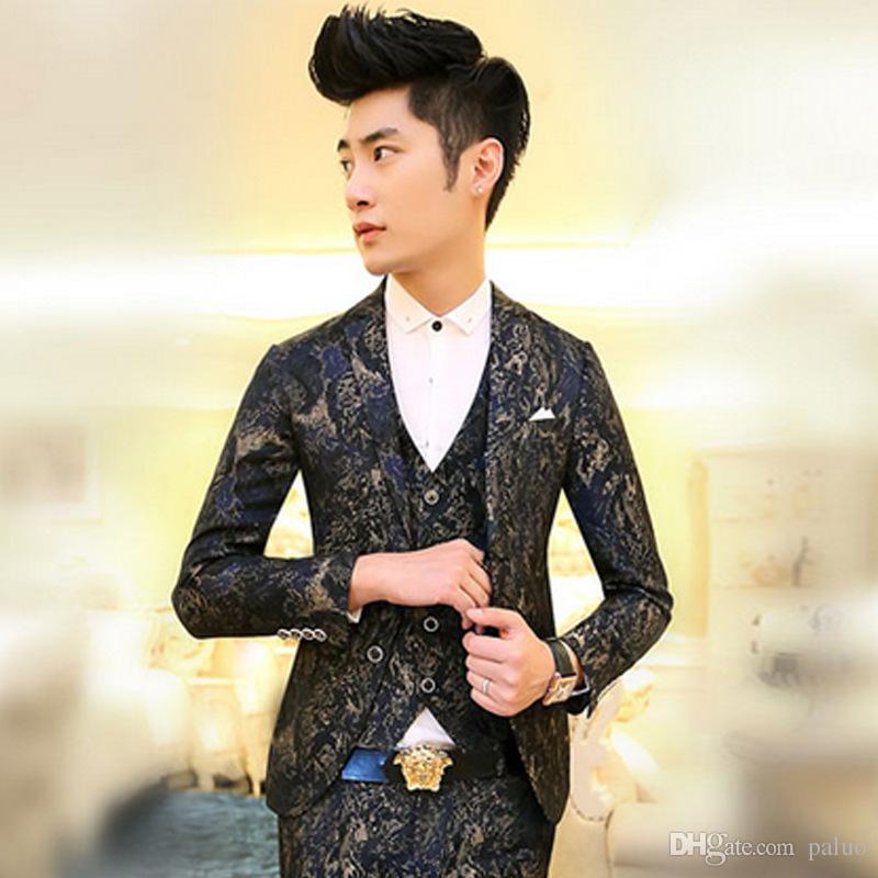 Wholesale- New Winter Mens Royal Luxury Blazer Gold Embroidery Black ...