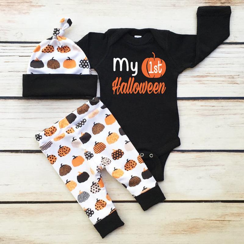 Ensembles de vêtements garçon barboteuses Halloween citrouille impression combinaison enfants costume enfants ensembles de vêtements