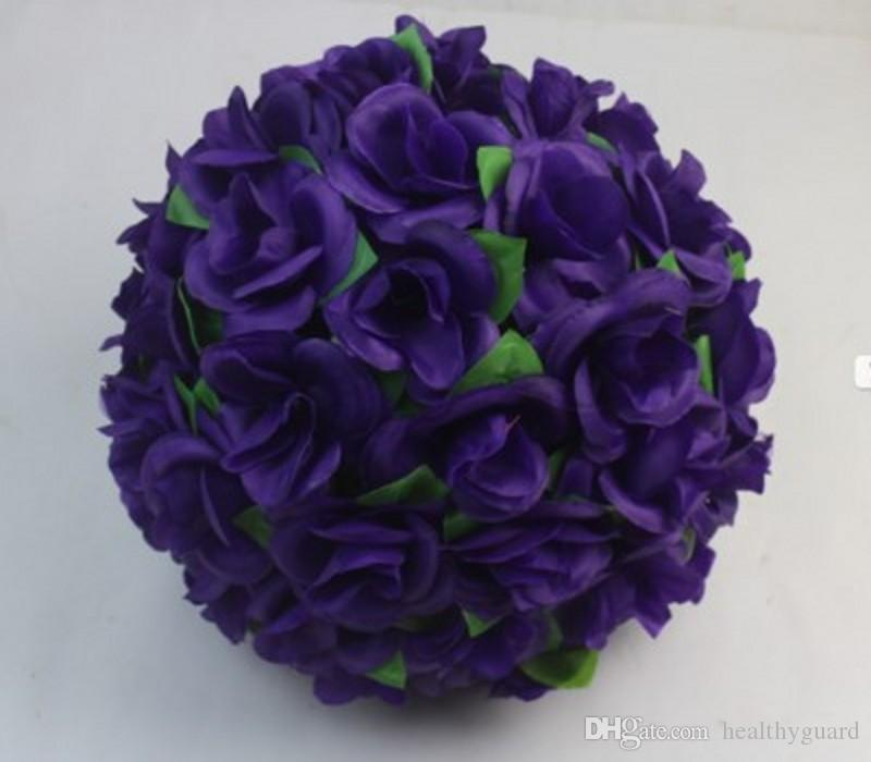 New 30 CM/12 Inch Artificial plum Silk Rose Flower Kissing Balls Hanging Ball For Christmas Ornaments Wedding Party Decorations Supplies
