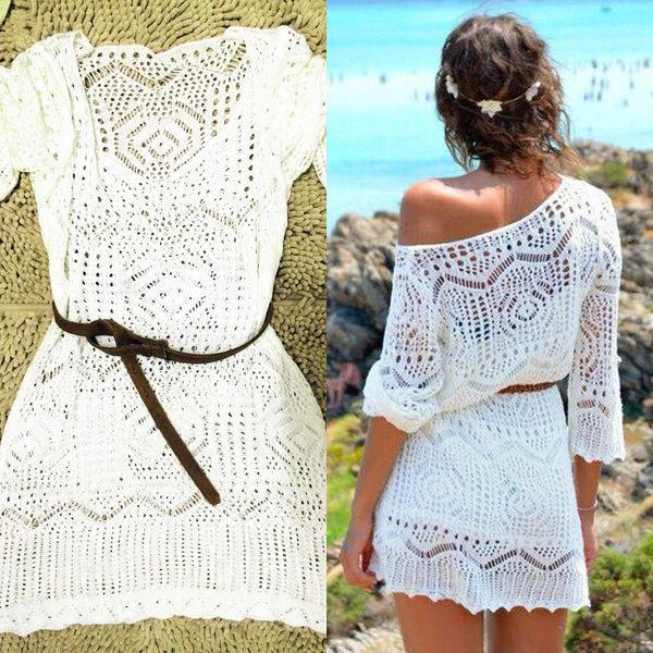 Wholesale- 2016 summer women lace crochet biquini dress for ladies boho half sleeve white hollow out sexy mini dress femme without belt