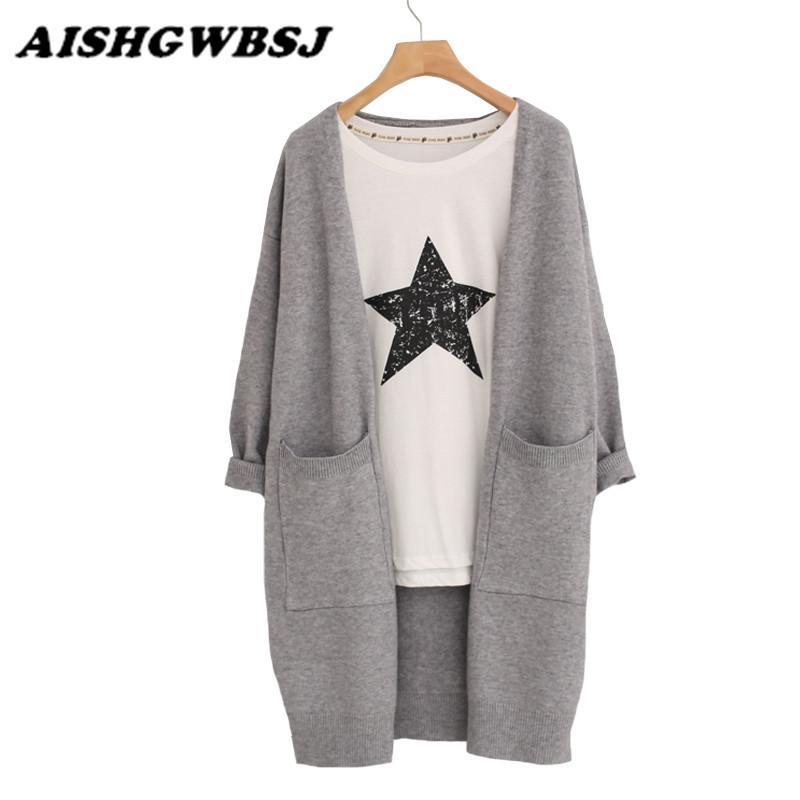 Suéter das mulheres atacado- 2021 outono inverno senhora suéter moda médio long cardigan mulheres soltas para casaco feminino outerwear com bolso s