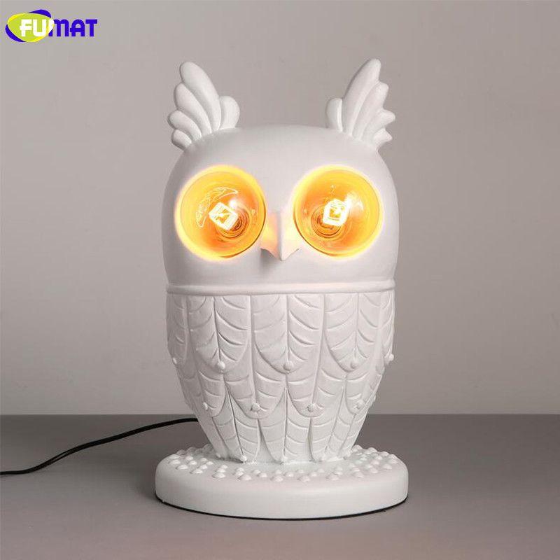 FUMAT Beyaz Reçine Baykuş Masa Lambası Modern Oturma Odası Yatak Odası Başucu Işık çocuk Odası Dekoratif Hayvan Baykuş Masa Lambası