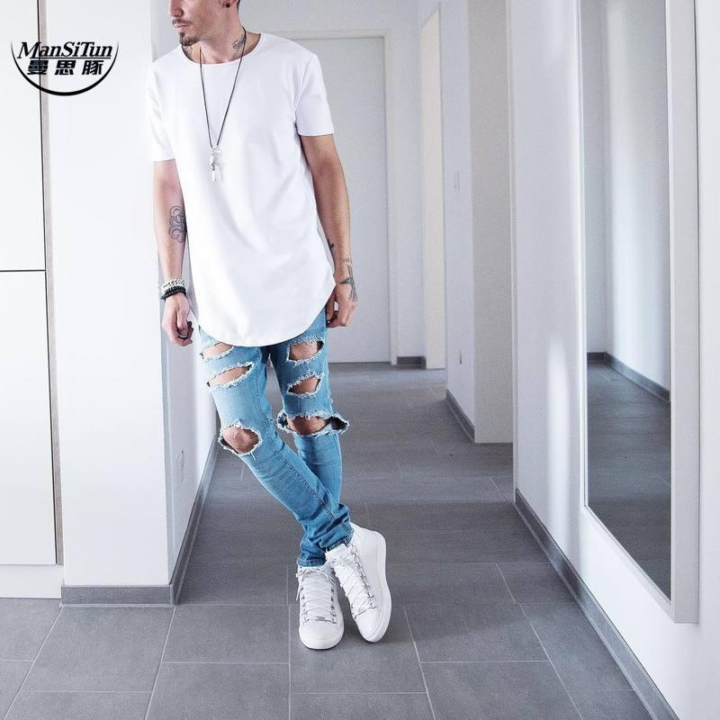 Man si Tun Summer Men Short Sleeve Extended Hip Hop T shirt Oversized Kpop Swag Clothes Men's Casual west T Shirt