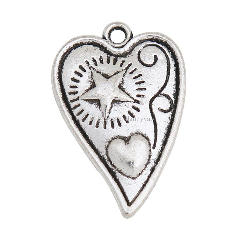 سحر الأزياء العتيقة الفضة تصفيح القلب مع النجم والقلب أثار 100pcs التي AAC704