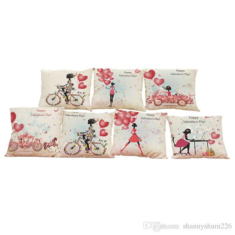 Aşk Balon Desen Keten Minder Kapak Ev Ofis Kanepe Kare Yastık Kılıfı Dekoratif Yastık Takmadan Yastık Kılıfı Kapakları (18 * 18)