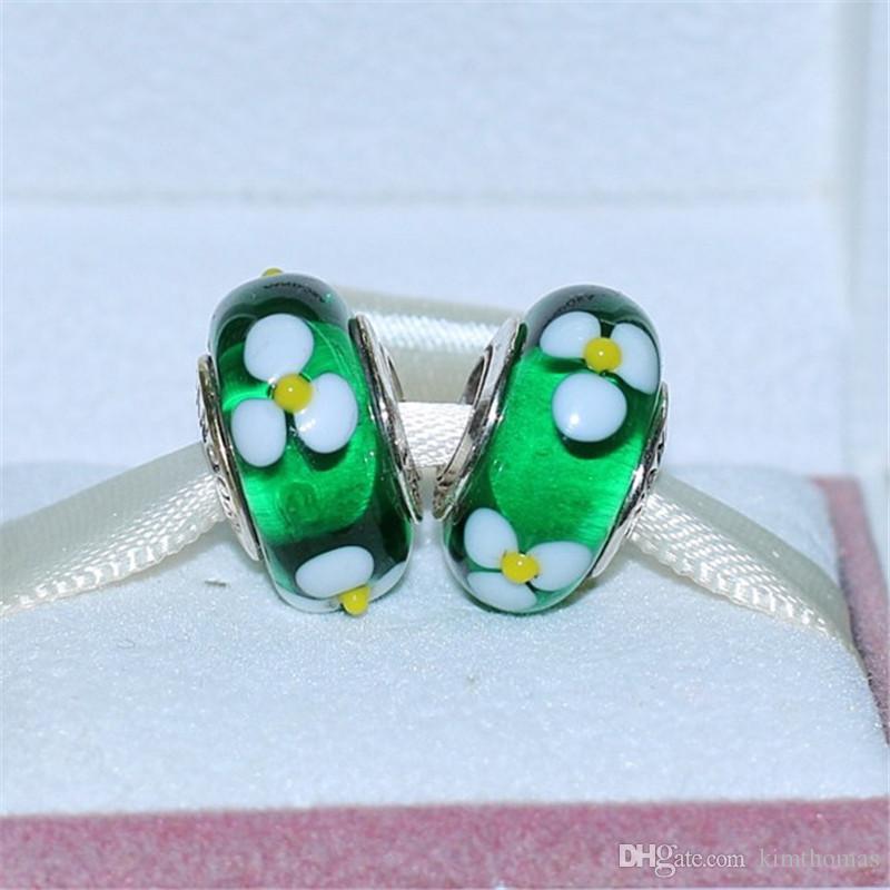 DIY Loose Beads Handmade Lampwork 925 Sterling Silver Green Daisy Murano Glass Charm Bead Fits European Pandora Jewelry Bracelets