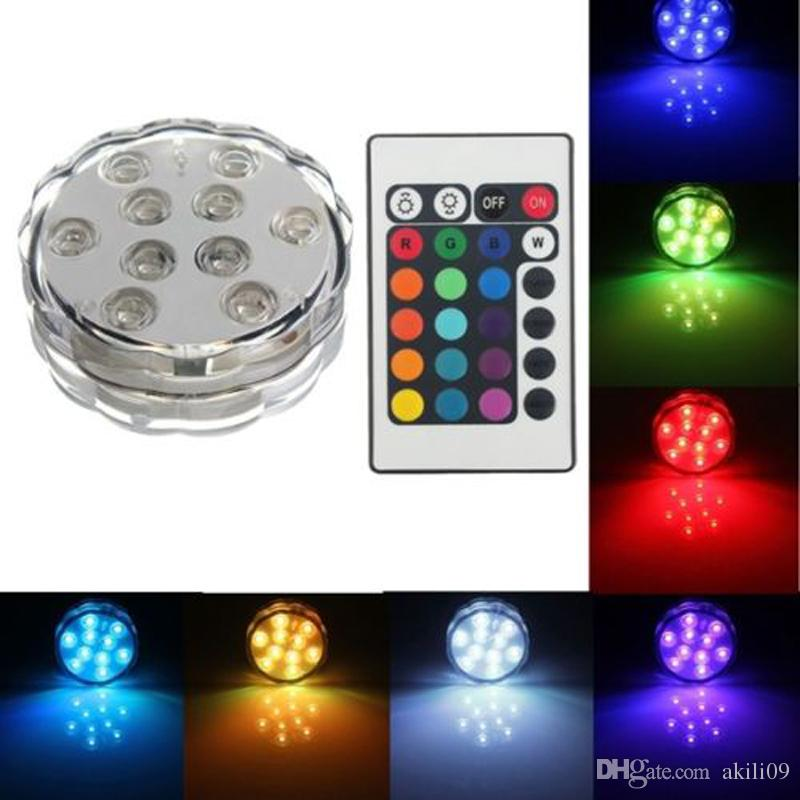 10 SMD5050 LED Multi Color Submersible Waterproof Wedding Party Vase Base Light With 24 Keys Remote Control For Hookah Shisha