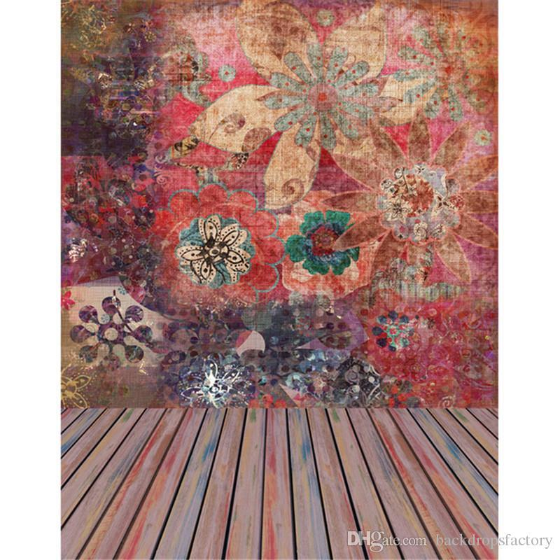 Digital Impresso Flor Fundos de Parede para Photo Studio Colorido De Madeira Chão Crianças Fotografia Backdrops Fotográficos Do Vintage