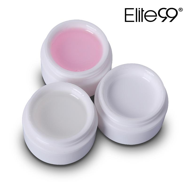 10pcs Elite99 gel ULTRAVIOLETA del constructor del gel del arte del clavo de la manicura del clavo rosa Extensión blanca transparente claro de 3 colores 15g