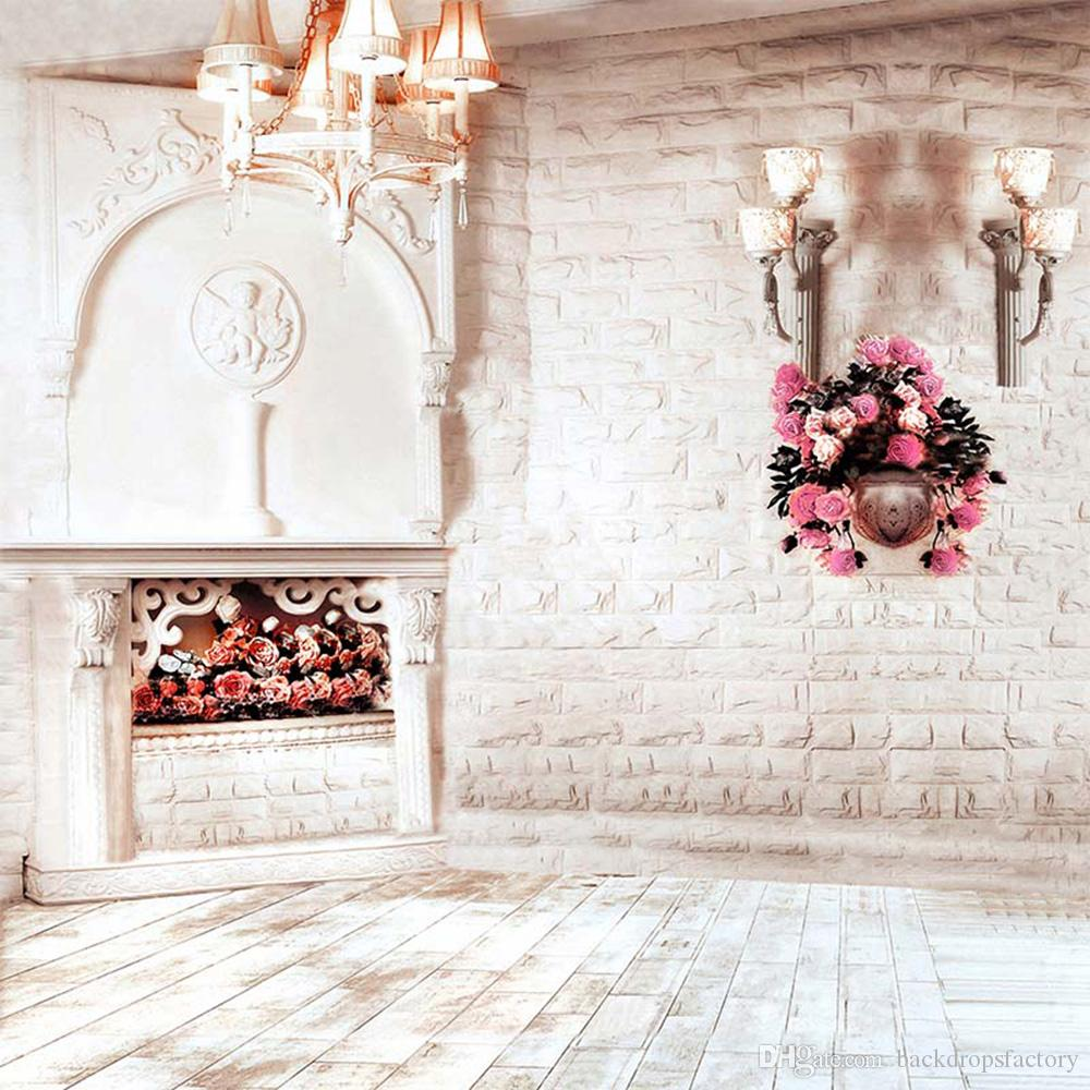 Indoor Brick Wall Photography Wedding Backdrop Chandelier Pink Flowers Studio Photo Shoot Background Wood Planks Floor