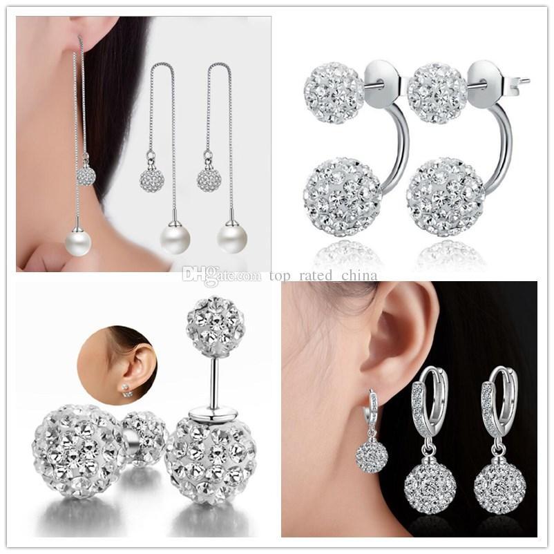 Fashion 925 Sterling Silver Plated Double sided Shambala Ball Stud Earrings Diamond Crystal disco beads Earings fine Jewelry for women girls