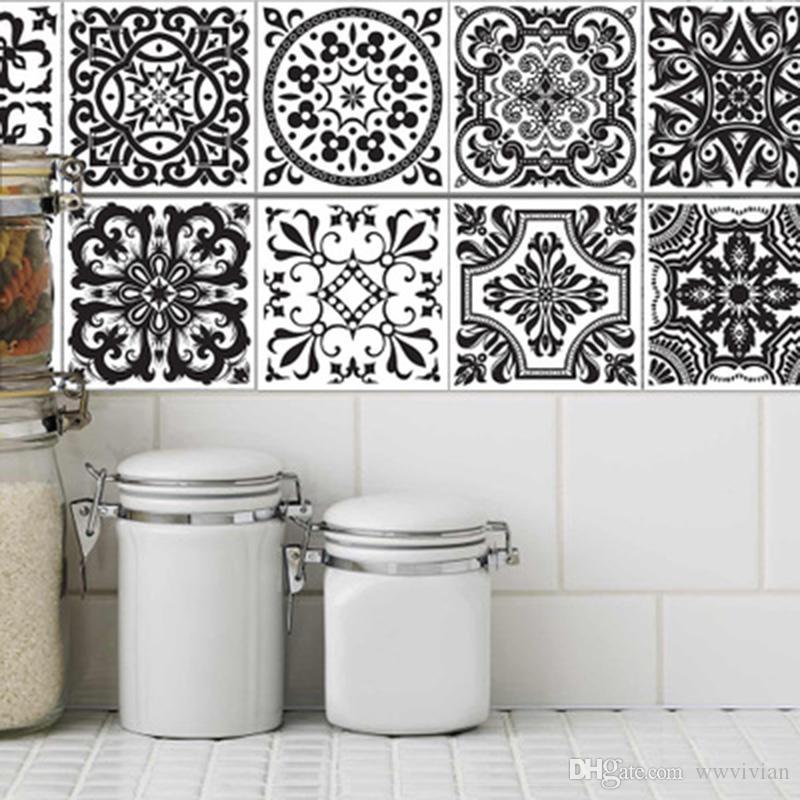 Bevorzugt Großhandel PVC Fliesen Aufkleber Schwarz Weiß Europäischen Stil PH88