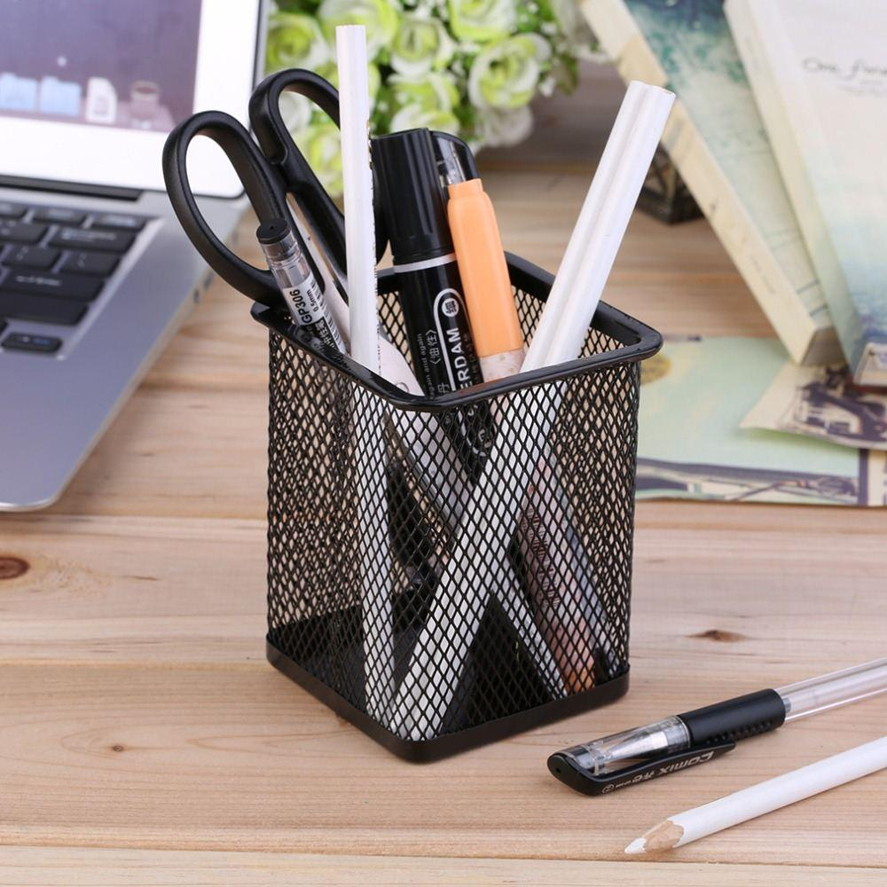 Office Desk Metal Mesh Square Pen Pot Cup Case Container Organiser Holder Brand New